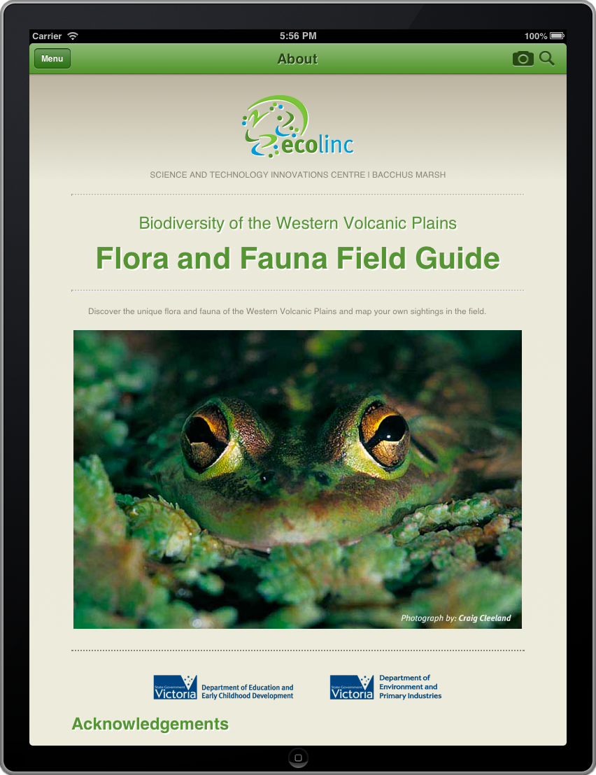 Picture of the Flora and Fauna Field Guide App on the iPad